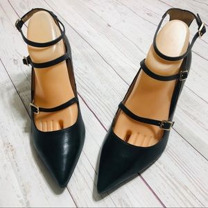 Shoes - Top Shop Women's Pointed Toe Leather  Black Shoes